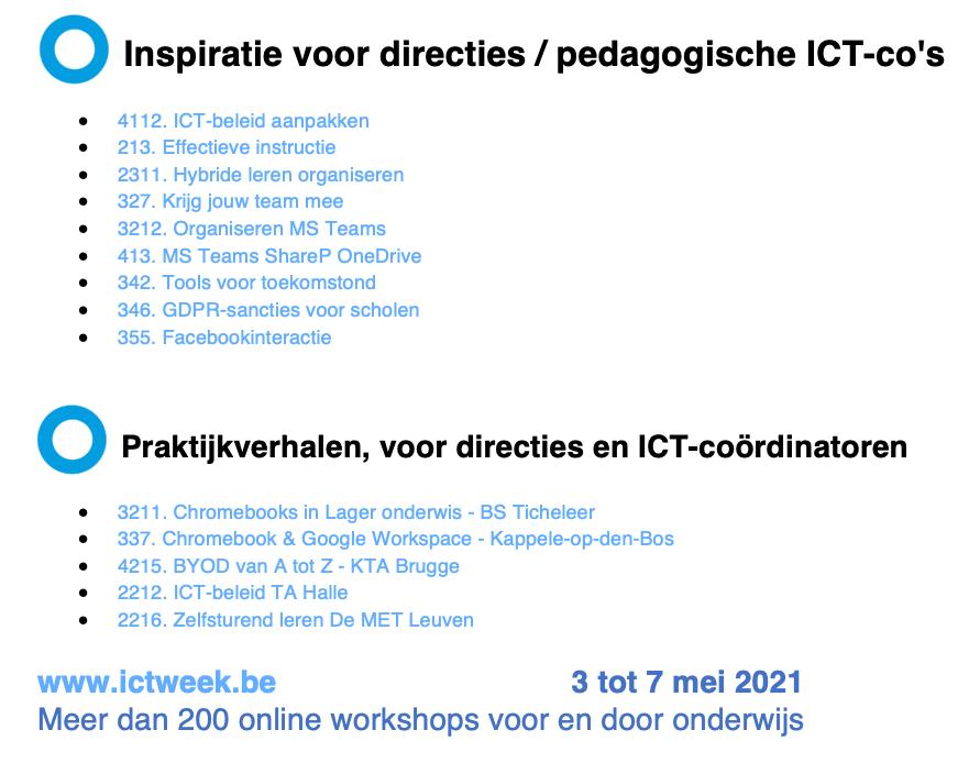 ICT-praktijkweek: Aanbod voor directies en pedagogische ICT-coördinatoren